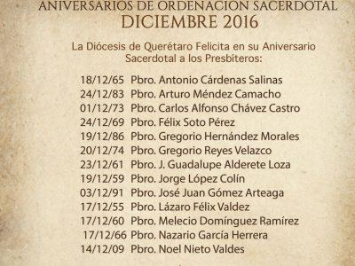 ANIVERSARIOS SACERDOTALES, DICIEMBRE 2016.