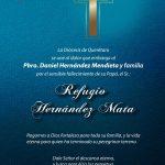 CONDOLENCIAS DE LA DIÓCESIS. Al Pbro. Daniel Hernández Mendieta y Familia.