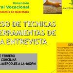 """CURSO DE """"TÉCNICAS Y HERRAMIENTAS DE LA ENTREVISTA""""  Invita: Pastoral Vocacional"""