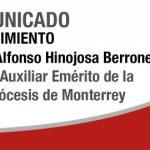 DESDE LA CEM: Comunicado Fallecimiento Mons. Alfonso Hinojosa Berrones.