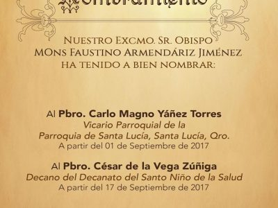 NOMBRAMIENTOS EN NUESTRA DIÓCESIS, Septiembre 2017.