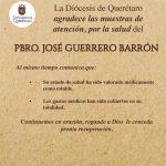 COMUNICADO: La Diócesis de Querétaro agradece las muestras de atención, por la salud del  PBRO. JOSÉ GUERRERO BARRÓN.