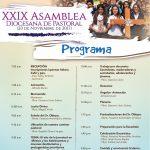 PROGRAMA Y HORARIO PARA LA XXIX ASAMBLEA DIOCESANA DE PASTORAL.