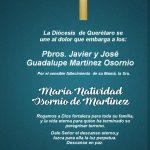 CONDOLENCIAS DE LA DIÓCESIS A LOS Pbros. Javier y josé Guadalupe Martínez Osornio.