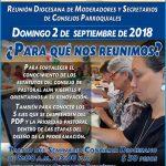 REUNIÓN DIOCESANA DE MODERADORES Y SECRETARIOS DE CONSEJOS PARROQUIALES.