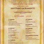 EXPOSICIÓN CIRCULAR SOLEMNE DEL SANTÍSIMO SACRAMENTO,POR PARROQUIAS.   MES DE SEPTIEMBRE AÑO 2018.