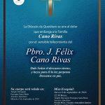 CONDOLENCIAS DE LA DIÓCESIS  A LA FAM. CANO RIVAS.